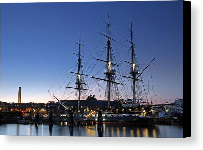 Boston Canvas Print featuring the photograph Uss Constitution And Bunker Hill Monument by Juergen Roth