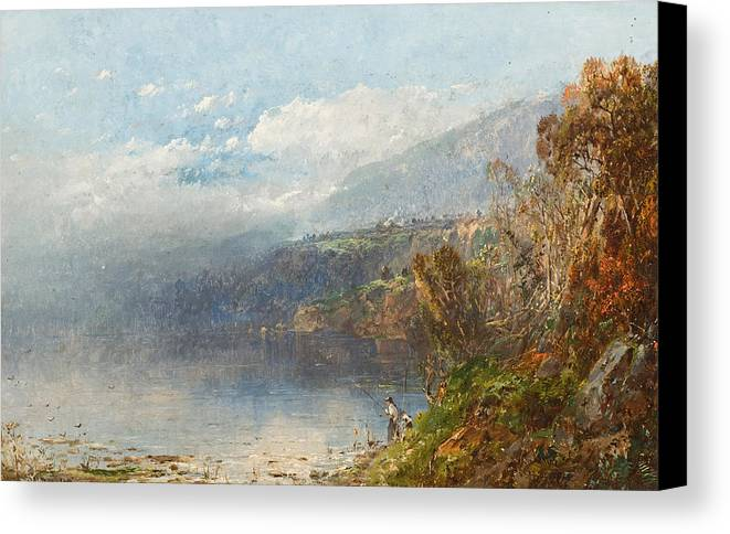 Autumn On The Androscoggin (oil On Canvas)fall; Seasons; Autumnal; River; North America; North American; Maine; New Hampshire; New England; Landscape; Mist; Misty; Wild; Wilderness; Remote; Male; Fisherman; Fishing; Solitary; Riverbank; Landscape Canvas Print featuring the painting Autumn On The Androscoggin by William Sonntag