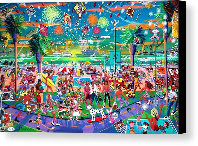 Venice Beach Canvas Print featuring the painting Independence Day Venice Style by Frank Strasser