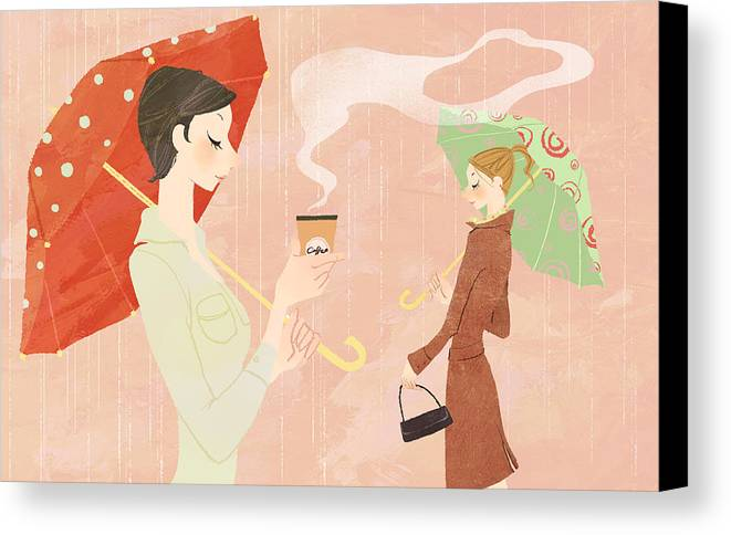 Adult Canvas Print featuring the digital art Portrait Of Young Woman In The Rain Holding Umbrella And A Takeaway Coffee by Eastnine Inc.