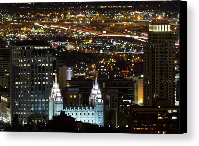 Horizontal Canvas Print featuring the photograph Salt Lake Temple by Photo by Jim Boud
