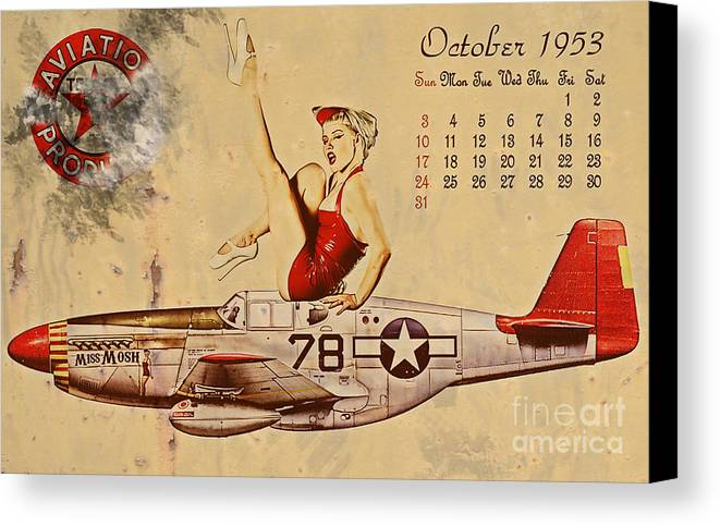 Pin Up Art Canvas Print featuring the digital art Aviation 1953 by Cinema Photography
