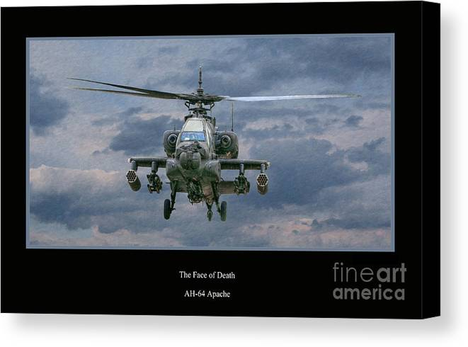 U.s. Army Canvas Print featuring the digital art Face Of Death Ah-64 Apache Helicopter by Randy Steele
