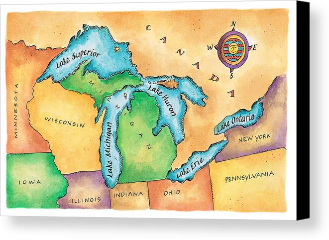 Horizontal Canvas Print featuring the digital art Map Of The Great Lakes by Jennifer Thermes