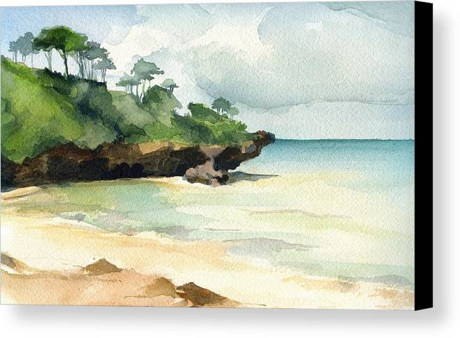 Landscape Canvas Print featuring the painting Mombasa Beach by Stephanie Aarons