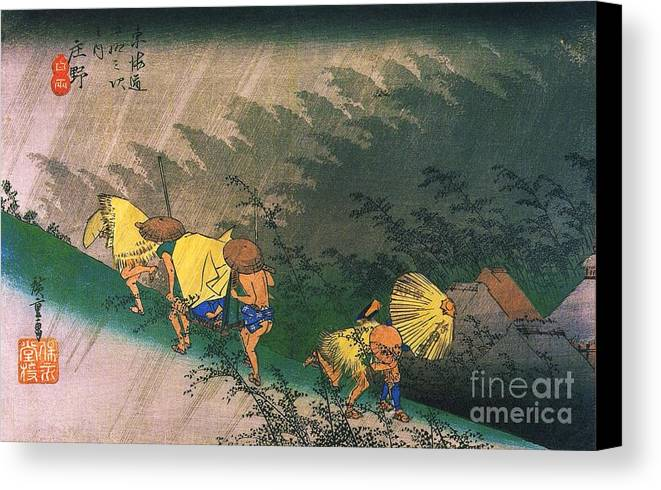 Pd Canvas Print featuring the painting Travellers Surprised By Rain by Pg Reproductions