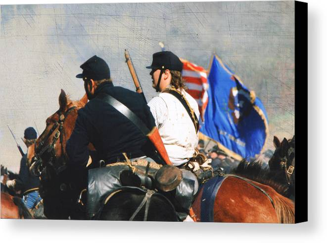 Reenactment Canvas Print featuring the photograph Battle Of Franklin - 2 by Kae Cheatham