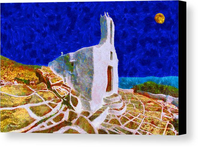 Rossidis Canvas Print featuring the painting Greek Church 5 by George Rossidis