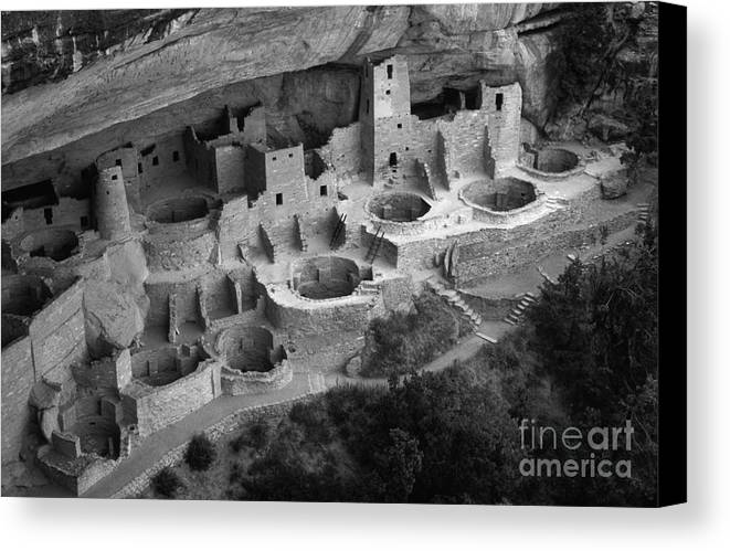 Mesa Verde Canvas Print featuring the photograph Mesa Verde Monochrome by Bob Christopher