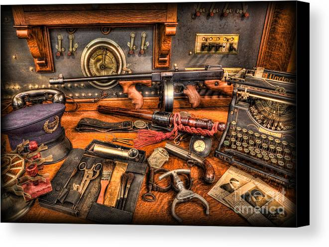 Police Canvas Print featuring the photograph Police - Behind The Front Desk by Lee Dos Santos