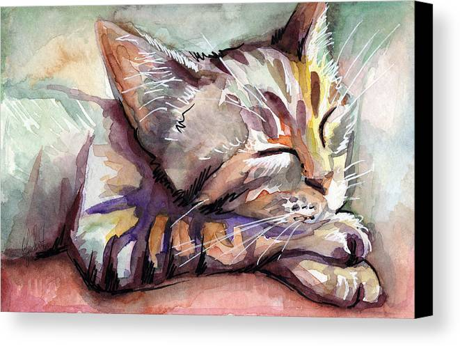 Sleeping Cat Canvas Print featuring the painting Sleeping Kitten by Olga Shvartsur