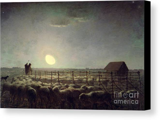 The Sheepfold Canvas Print featuring the painting The Sheepfold  Moonlight by Jean Francois Millet
