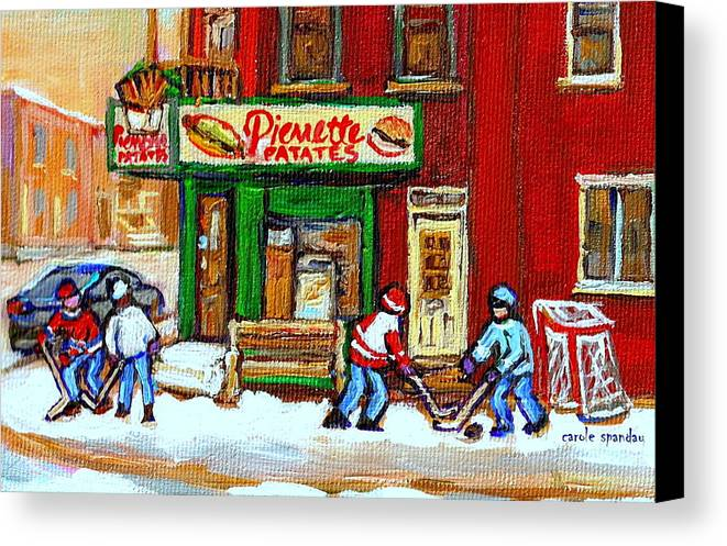 Verdun Canvas Print featuring the painting Verdun Hockey Game Corner Landmark Restaurant Depanneur Pierrette Patate Winter Montreal City Scen by Carole Spandau