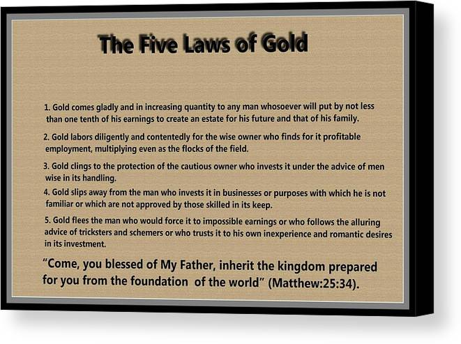 5 Laws Of Gold Canvas Print featuring the digital art 5 Laws Of Gold by Ricky Jarnagin