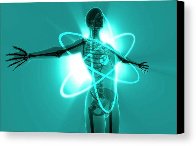Horizontal Canvas Print featuring the digital art Atomic Woman by MedicalRF.com