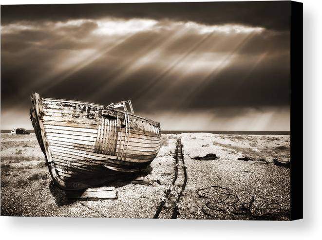 Boat Canvas Print featuring the photograph Fishing Boat Graveyard 9 by Meirion Matthias