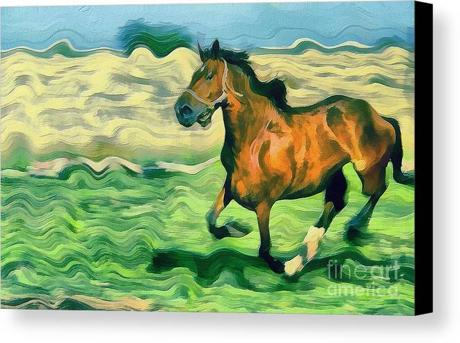Odon Canvas Print featuring the painting The Running Horse by Odon Czintos