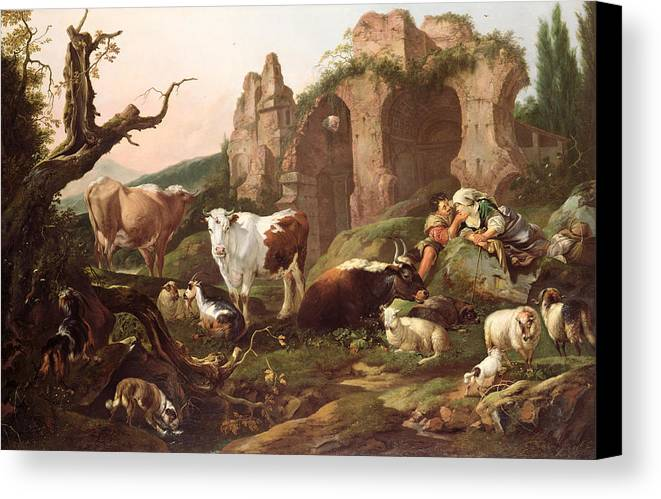 Farm Canvas Print featuring the painting Farm Animals In A Landscape by Johann Heinrich Roos