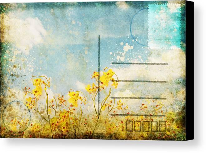 Address Canvas Print featuring the photograph Floral In Blue Sky Postcard by Setsiri Silapasuwanchai