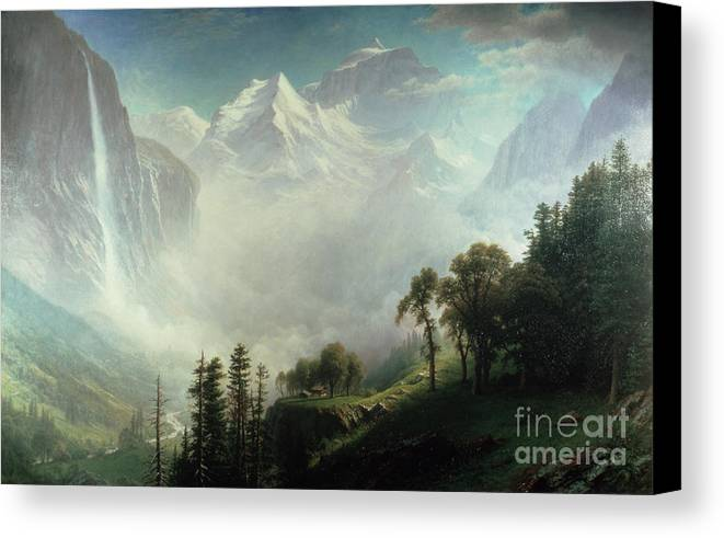 Majesty Canvas Print featuring the painting Majesty Of The Mountains by Albert Bierstadt