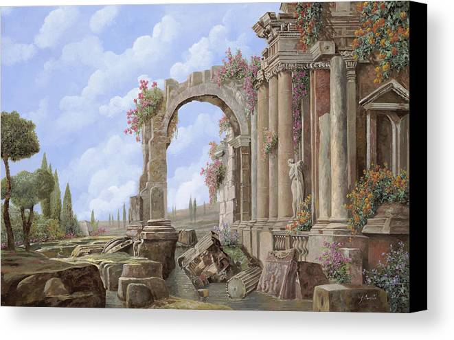 Arch Canvas Print featuring the painting Roman Ruins by Guido Borelli