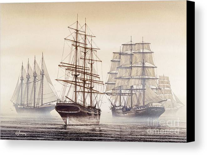 Tall Ship Print Canvas Print featuring the painting Tall Ships by James Williamson