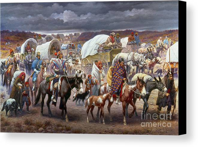 1838 Canvas Print featuring the painting The Trail Of Tears by Granger