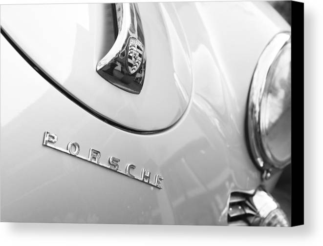 1960 Porsche 356 B 1600 Super Roadster Hood Emblem Canvas Print featuring the photograph 1960 Porsche 356 B 1600 Super Roadster Hood Emblem by Jill Reger