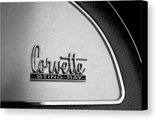 1967 Chevrolet Corvette Glove Box Emblem Canvas Print featuring the photograph 1967 Chevrolet Corvette Glove Box Emblem by Jill Reger