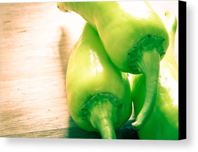 Board Canvas Print featuring the photograph Green Jalapeno Peppers by Tom Gowanlock