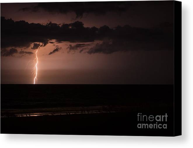 Amelia Island Canvas Print featuring the photograph Lightning Over The Ocean by Dawna Moore Photography