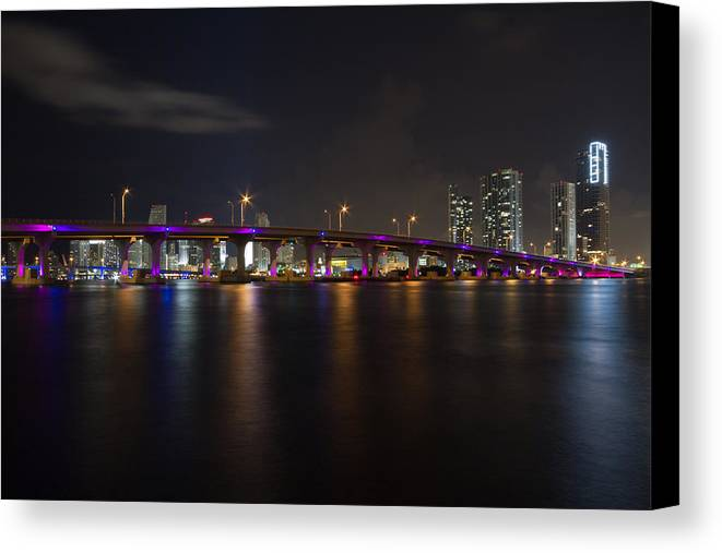Architecture Canvas Print featuring the photograph Miami Night Skyline by Andres Leon