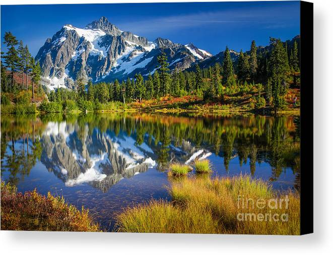 America Canvas Print featuring the photograph Picture Lake by Inge Johnsson