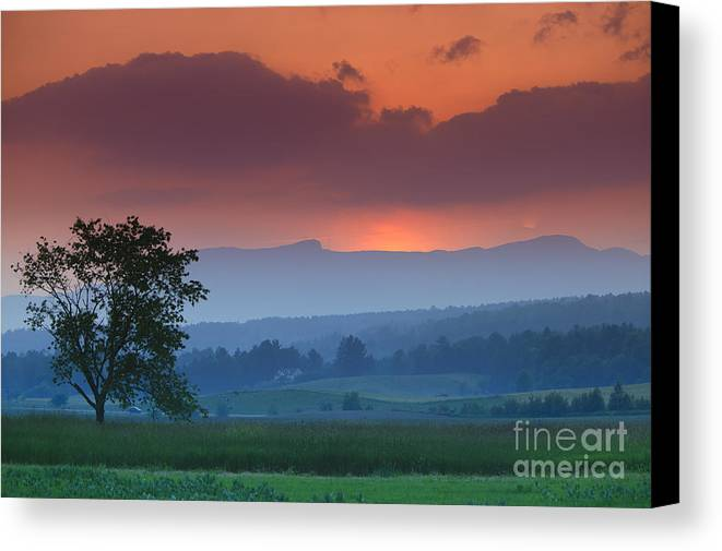 Mt. Mansfield Canvas Print featuring the photograph Sunset Over Mt. Mansfield In Stowe Vermont by Don Landwehrle