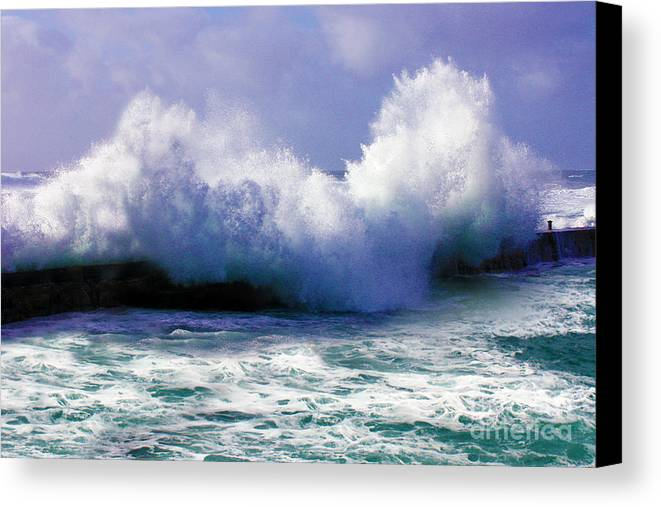 Stormy Canvas Print featuring the photograph Wild Waves In Cornwall by Terri Waters