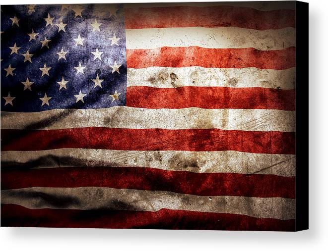 Old Canvas Print featuring the photograph American Flag by Les Cunliffe