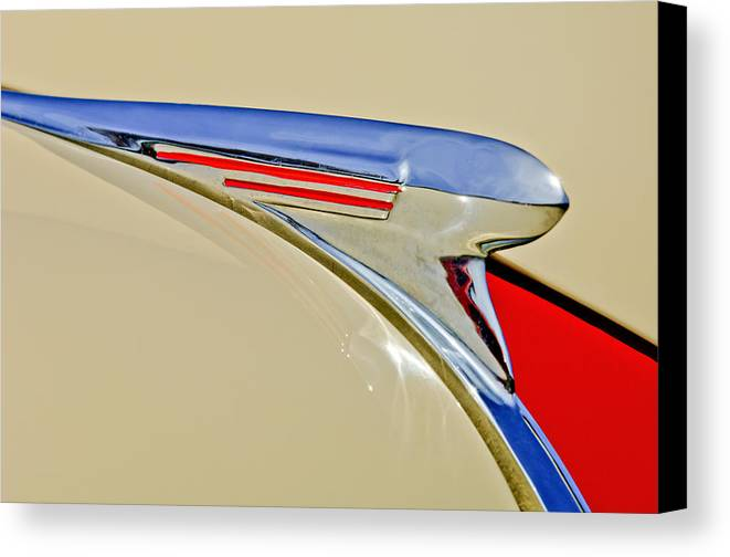 1940 Chevrolet Canvas Print featuring the photograph 1940 Chevrolet Pickup Hood Ornament 2 by Jill Reger