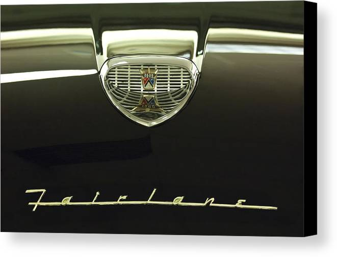 1958 Ford Fairlane 500 Victoria Tudor Hardtop Canvas Print featuring the photograph 1958 Ford Fairlane 500 Victoria Hood Ornament by Jill Reger
