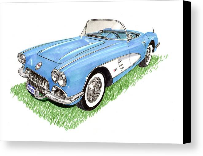 Framed Art Prints Of 1959 Corvette Frost Blue With White Coves Detailed & Ready Canvas Print featuring the painting 1959 Corvette Frost Blue by Jack Pumphrey