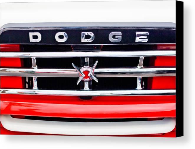 1960 Dodge Truck Emblem Canvas Print featuring the photograph 1960 Dodge Truck Grille Emblem by Jill Reger