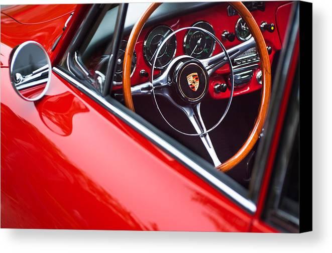 1964 Porsche 356 Carrera 2 Canvas Print featuring the photograph 1964 Porsche 356 Carrera 2 Steering Wheel by Jill Reger