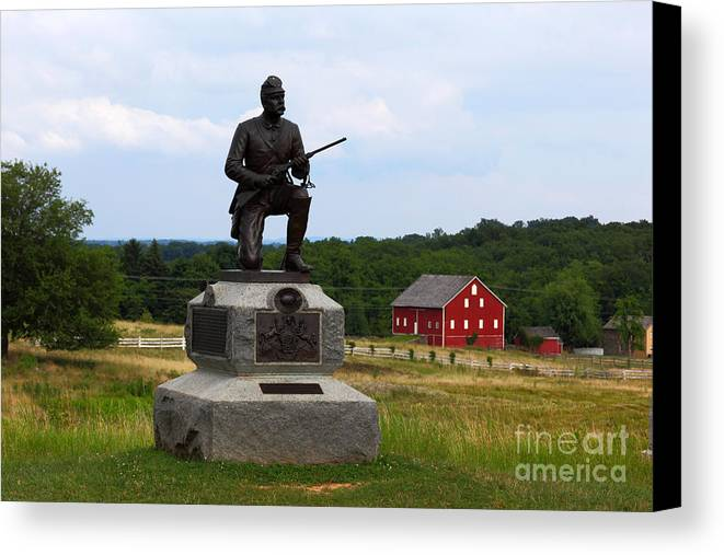 Gettysburg Canvas Print featuring the photograph 1st Pennsylvania Cavalry Defending Cemetery Ridge by James Brunker
