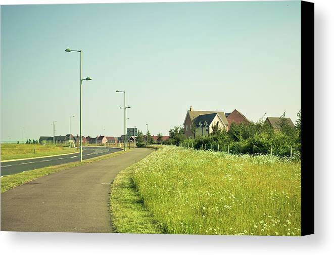 Asphalt Canvas Print featuring the photograph Cycle Path by Tom Gowanlock