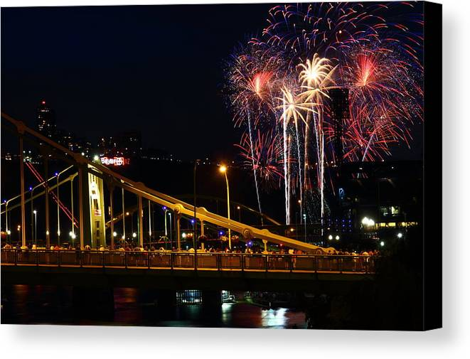 Pittsburgh Canvas Print featuring the photograph July 4th Fireworks In Pittsburgh by Jetson Nguyen