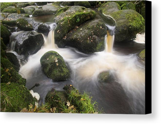 Landscape Canvas Print featuring the photograph Landscape Of Becky Falls Waterfall In Dartmoor National Park Eng by Matthew Gibson