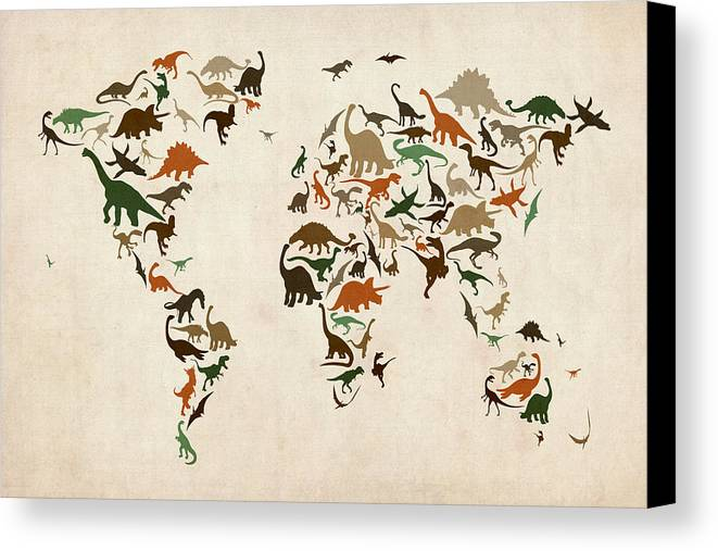 World Map Canvas Print featuring the digital art Dinosaur Map Of The World Map by Michael Tompsett