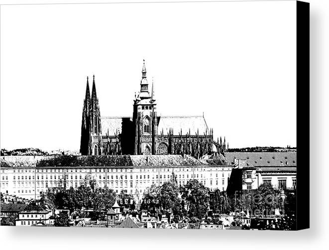 Castle Canvas Print featuring the digital art Cathedral Of St Vitus by Michal Boubin
