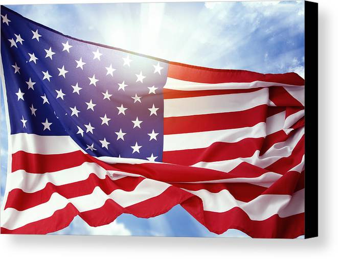 American Canvas Print featuring the photograph American Flag by Les Cunliffe