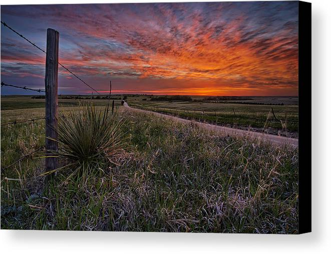 Kansas Canvas Print featuring the photograph Ablaze by Thomas Zimmerman