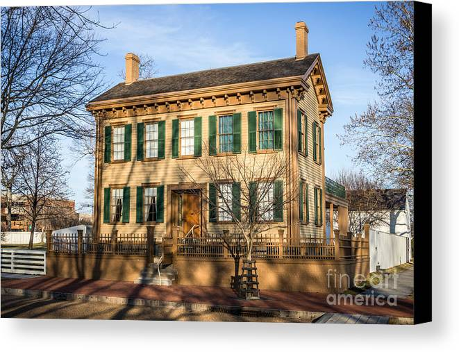 Abraham Canvas Print featuring the photograph Abraham Lincoln Home In Springfield Illinois by Paul Velgos